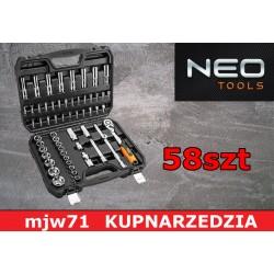 """NEO TOOLS Zestaw kluczy nasadowych 1/2"""" zestaw 58szt. CrV  08-663"""