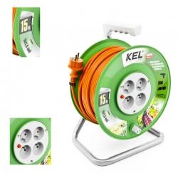 KEL - Przedłużacz bębnowy 3x1,5/10M H05VV-F Pomarańczowy