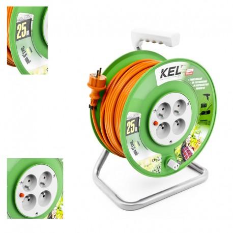 KEL - Przedłużacz bębnowy 3x1,5/25M H05VV-F Pomarańczowy